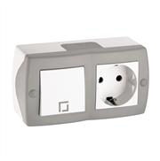Выключатель одноклавишный и розетка с заземлением Ostans серый 104-020101-180
