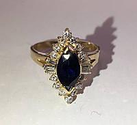 Золотое кольцо 585 проба ,сапфир и бриллианты. Размер 18 Сертификат