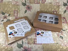 Коробка для 12-ти кексов / 340х250х90 мм / Крафт / окно-обычн
