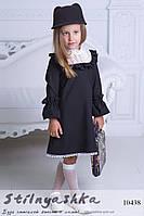 Черное платье на девочку с кружевом