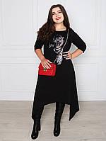 Асимметричное платье с принтом - 1073
