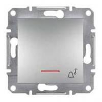 "Кнопка ""Звонок"" с подсветкой Asfora алюминий, EPH1700161"