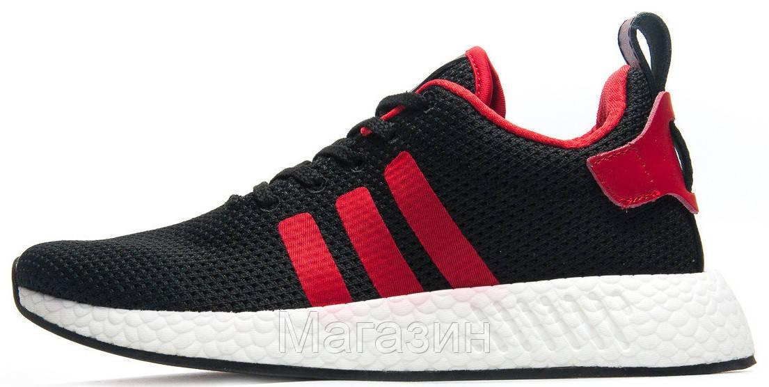Мужские кроссовки Adidas NMD R2 PK Black/Red (в стиле Адидас НМД) черные с красным