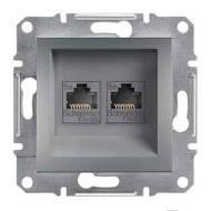 Розетка телефонная двойная, RJ11 Asfora сталь, EPH4200162