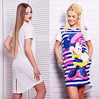 Женская длинная футболка-фрак из вискозы с печатным принтом