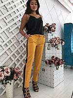 Стильные укороченные брюки с лампасами В20931