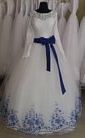 """Свадебное платье """"Синяя бабочка-2"""" (длинный рукав, съемный бант)"""