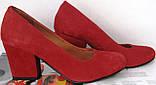 Nona! женские 40 41 42 43 размер качественные классические туфли красные взуття на каблуке 7,5 см батал, фото 5