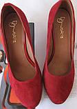 Nona! женские 40 41 42 43 размер качественные классические туфли красные взуття на каблуке 7,5 см батал, фото 6