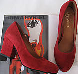 Nona! женские 40 41 42 43 размер качественные классические туфли красные взуття на каблуке 7,5 см батал, фото 3
