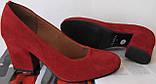 Nona! женские 40 41 42 43 размер качественные классические туфли красные взуття на каблуке 7,5 см батал, фото 7