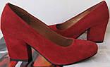 Nona! женские 40 41 42 43 размер качественные классические туфли красные взуття на каблуке 7,5 см батал, фото 8