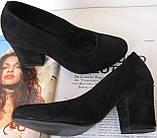 Nona! Женские качественные классические туфли синего цвета взуття на каблуке 7,5 см батал размер 40,41,42,43, фото 9