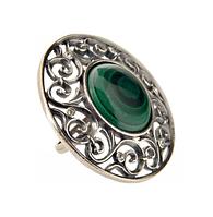 """Кольцо """"Таррагона"""" с малахитом, покрытое серебром (e04030m0)"""