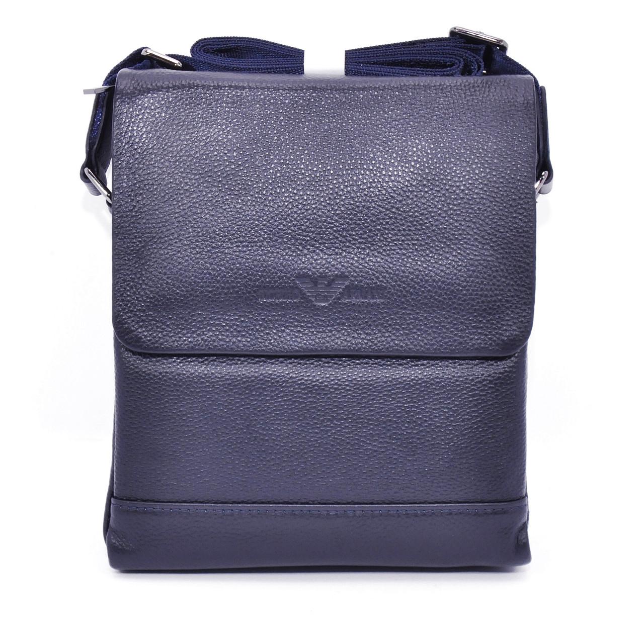Сумка мужская большая кожаная планшет синяя Giorgio Armani 7911-3 -  Интернет-магазин