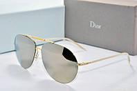 Солнцезащитные очки Dior зеркальные в золотой оправе