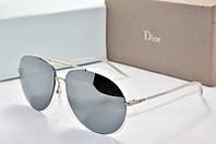 Солнцезащитные очки Dior зеркальные в серебристой оправе