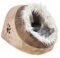 Домик-пещера Trixie Minou Cuddly Cave плюшевый, с меховой опушкой, 35х26х41 см