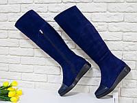 Сапоги М-111 высокие сапоги синего цвета из натурального замша