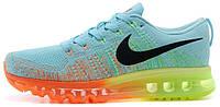 Женские кроссовки Nike Air Max Flyknit (найк аир макс флайнит) голубые