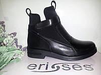 Ботинки женские черная кода низкий каблук осенние