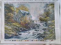 Рисунок на канве для вышивки нитками и бисером Дом у реки