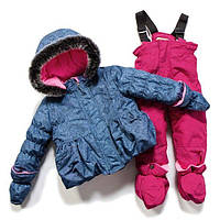 Зимний термокостюм для девочки 1-3 лет, р. 80-98 ТМ Peluche&Tartine China Blue / Berry F17 M 16 BF