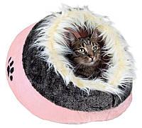 Домик-пещера Trixie Minou Cuddly Cave плюшевый, розовый с меховой опушкой, 41х42х26 см