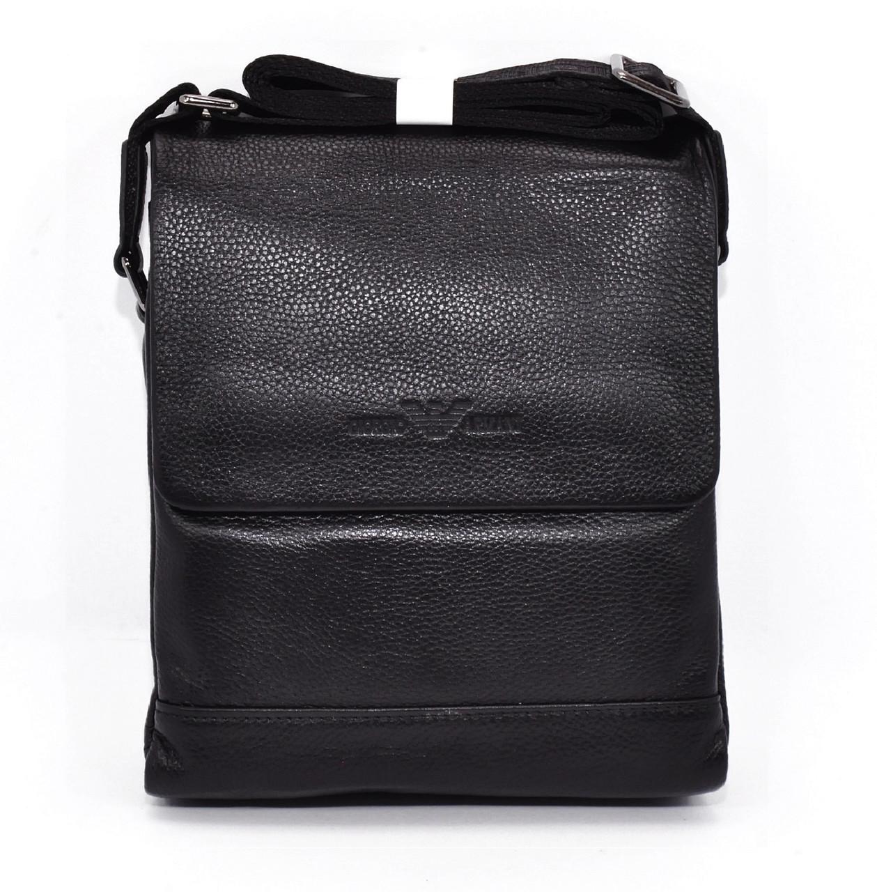 Сумка мужская большая кожаная планшет черная Giorgio Armani 7911-3