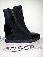 Ботинки женские черная замша лакированный нос на средней платформе осенние