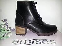 Ботинки женские черная кожа шнурок средний каблук осенние