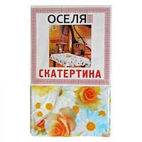 Виниловая прямоугольная скатерть с каймой Цветы 120х152 см Оселя 71-122-033