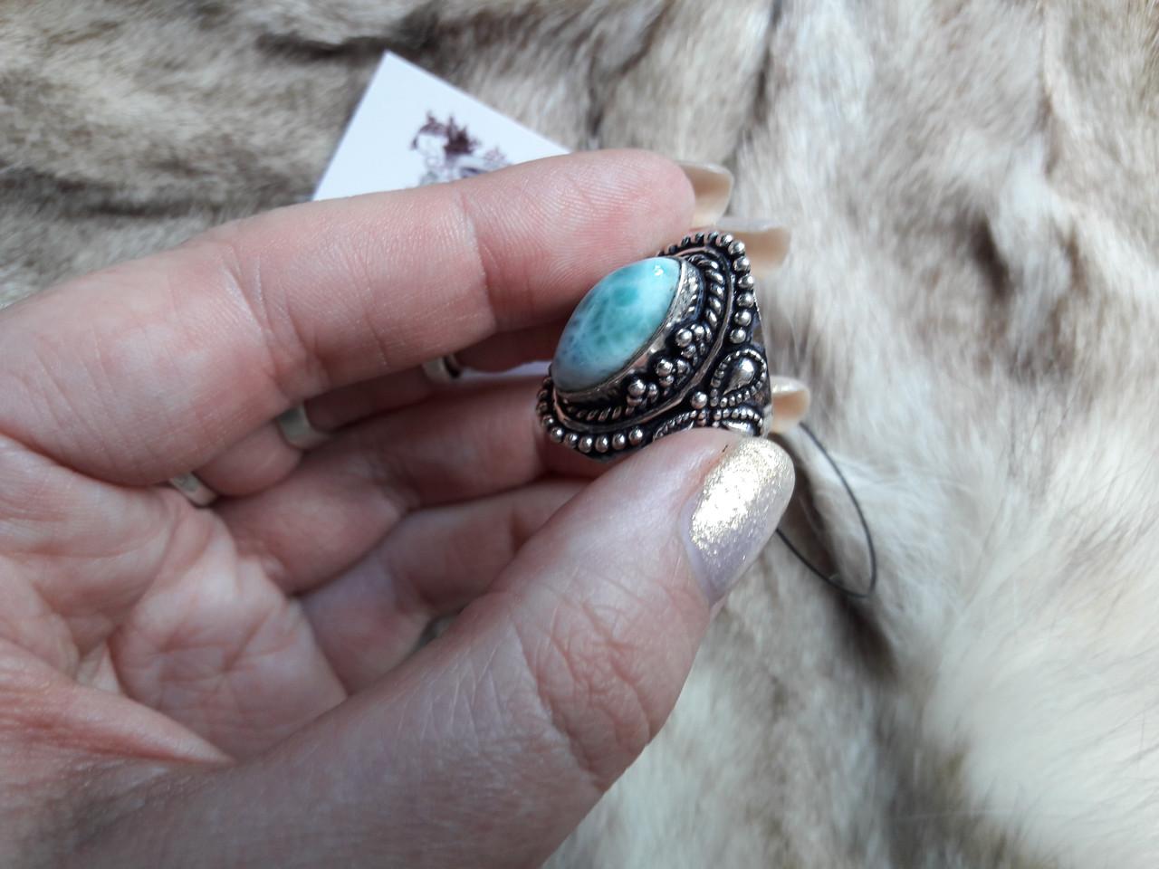 Ларимар кільце з натуральним карибським ларимаром Домінікана. Розмір 19,5. Ексклюзив!