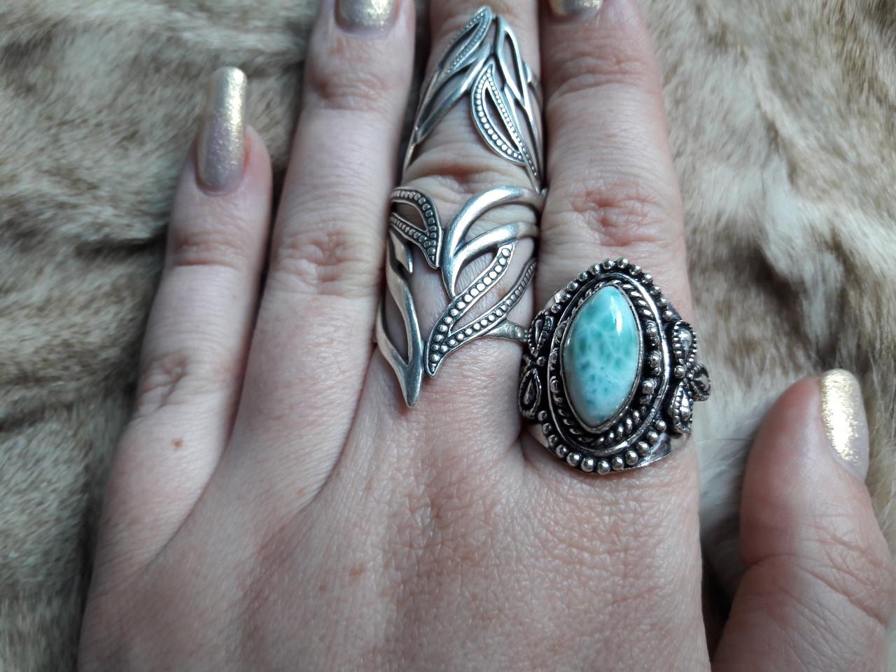 Ларимар кольцо с натуральным карибским ларимаром Доминикана. Размер 19,5. Эксклюзив!