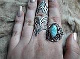 Ларимар кільце з натуральним карибським ларимаром Домінікана. Розмір 19,5. Ексклюзив!, фото 2