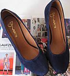 Nona! Женские качественные классические туфли синего цвета взуття на каблуке 7,5 см батал размер 40,41,42,43, фото 4