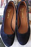 Nona! Женские качественные классические туфли синего цвета взуття на каблуке 7,5 см батал размер 40,41,42,43, фото 5