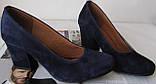 Nona! Женские качественные классические туфли синего цвета взуття на каблуке 7,5 см батал размер 40,41,42,43, фото 6