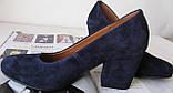 Nona! Женские качественные классические туфли синего цвета взуття на каблуке 7,5 см батал размер 40,41,42,43, фото 7