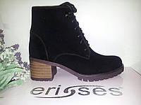 Ботинки женские черная замша шнурок средний каблук осенние