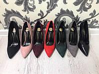 Классические туфли лодочки на высокой шпильке. Материал эко замш/кожа. Цвета в ассортименте. Р-р 36-40.