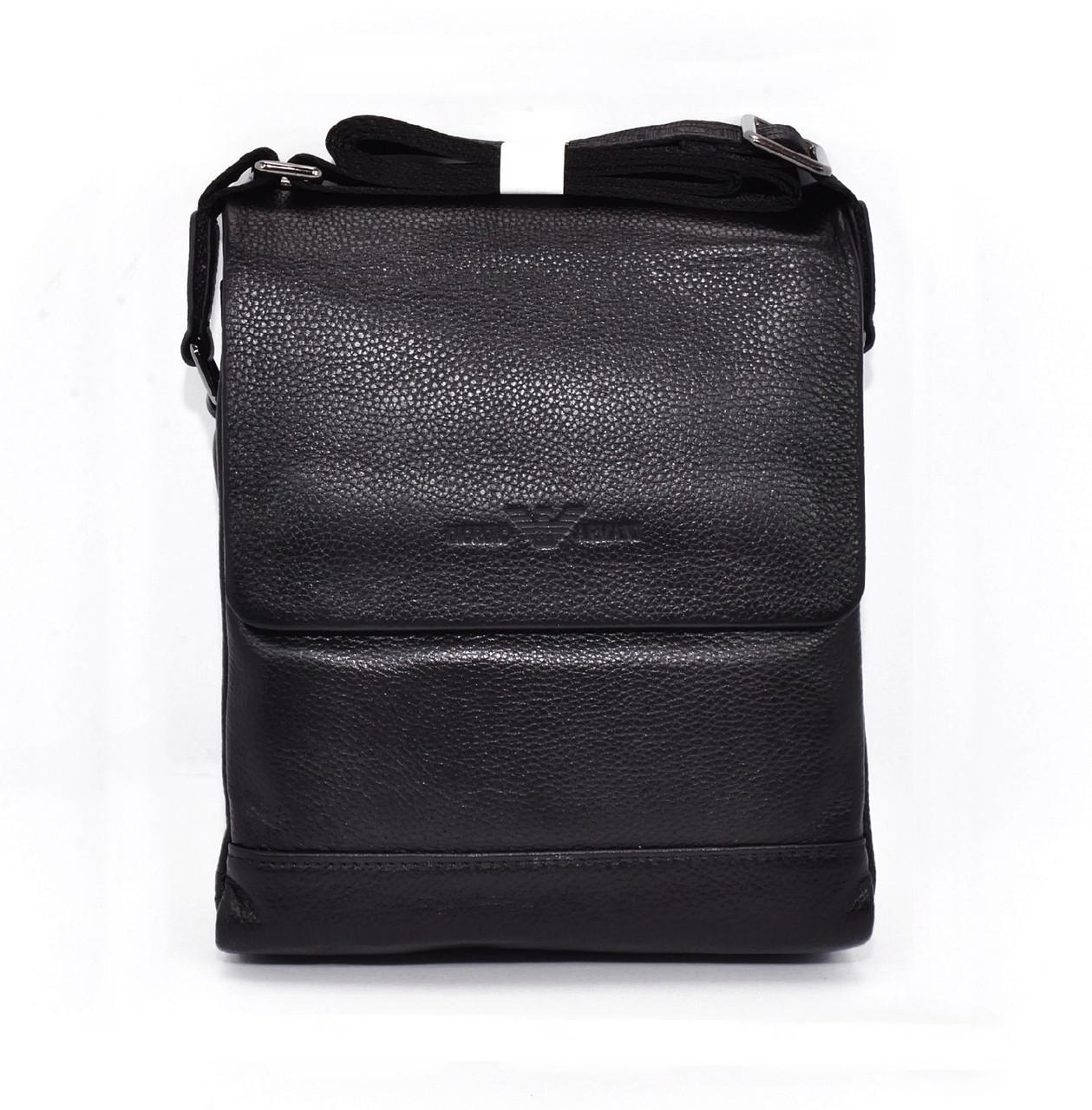 Сумка мужская средняя кожаная планшет черная Giorgio Armani 7911-2