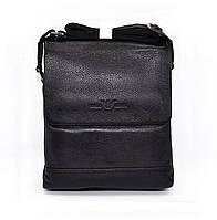 Сумка мужская средняя кожаная планшет черная Giorgio Armani 7911-2, фото 1