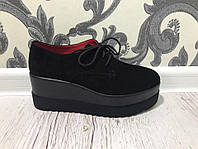 Туфли замшевые на высокой платформе. Стильно и комфортно. Материал натуральный замш. Цвет черный. Р-р 36-40.
