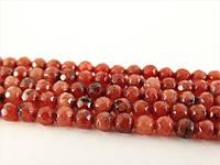 Красный Граненый Агат, Натуральный камень, На нитях, бусины 8 мм, Круглые, Отверстие 1 мм, кол-во: 48 шт/нить