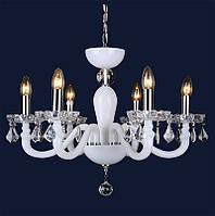 Белая стеклянная  люстра с хрустальными подвесками 720P8050-6