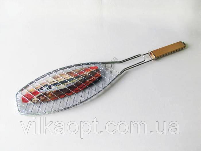 Барбекю нержавіюче з дерев'яною ручкою Рибка L 66 cm.; 37 х 15 cm.