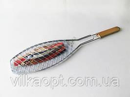 Барбекю нержавеющее с деревянной ручкой Рыбка L 66 cm.; 37 х 15 cm.