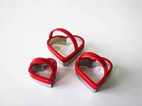 Форма кондитерская нержавеющая Сердце  в наборе из 3-х с ручкой 5; 6,5; 8 см.