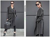 Темно серое пальто с большим отложным воротником